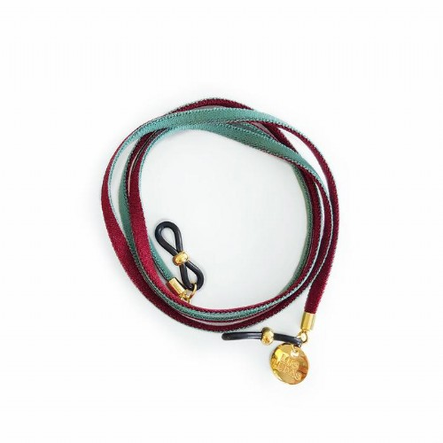 Cordon gafas flat turquesa/vino