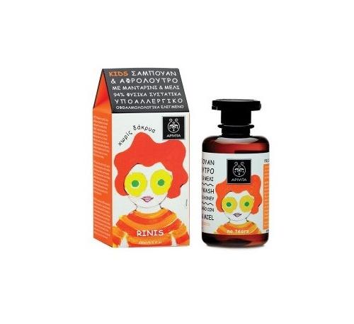 Apivita kids champu y gel de baño mandarina miel