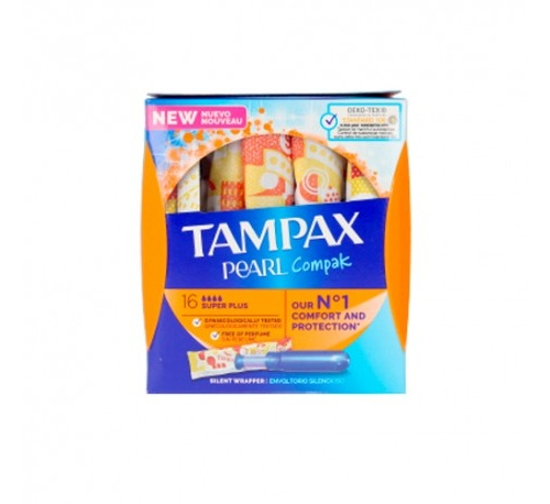 Tampax compak pearl tampon 100%algodon (super plus 16 u)