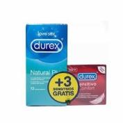 Durex natural plus + durex sensitivo confort - preservativos (pack 12 + 3 preserv)
